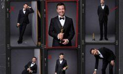 奥斯卡颁奖礼发宣传海报 吉米·坎摩尔示范与小金人合影正确姿势
