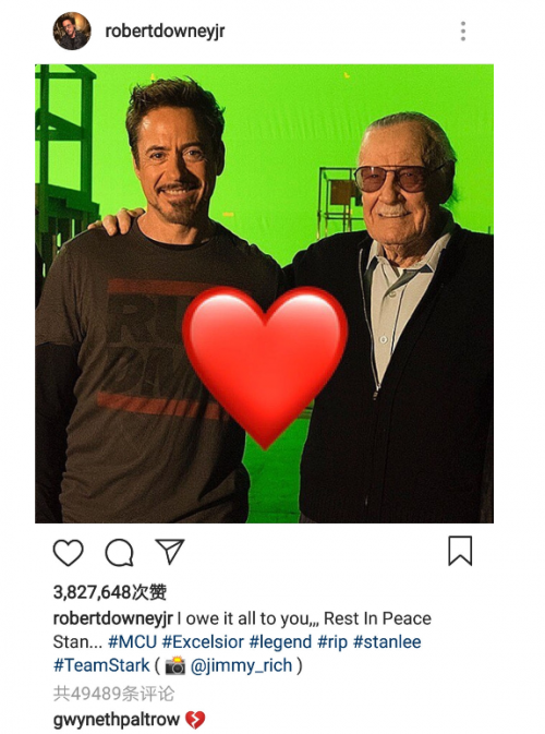 """""""钢铁侠""""小罗伯特·唐尼悼念斯坦·李:安息吧"""