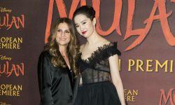 刘亦菲身着黑色长裙亮相《花木兰》英国首映礼
