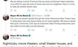 为应对新冠疫情,纽约市长命令全市电影院小剧场关门