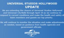 为游客安全着想,好莱坞环球影城闭园时间延长至4月19日