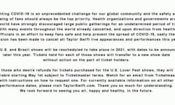 泰勒·斯威夫特社交网络发布声明:取消2020年所有演出