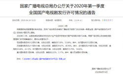 广电总局发布:2020年第一季度国产电视剧发行情况许可