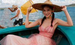 Angelababy穿黎族服饰,化身海岛少女夏日感满满