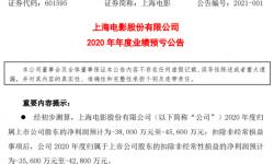 上海电影股份2020年预计亏损3.8亿-4.56亿 上市以来首次亏损