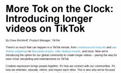 TikTok正在向所有人推出更长时间的视频 最长可达3分钟