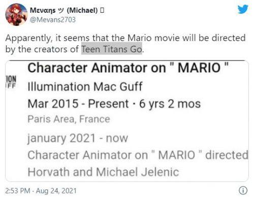 《超级马里奥》大电影这部电影将由《少年泰坦出击》作者执导