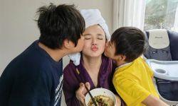 冉莹颖晒照庆37岁生日,轩轩亲自下厨煮面,和弟弟亲妈妈脸太温馨